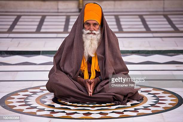 Sikh devotee in prayer / meditation, Golden Temple