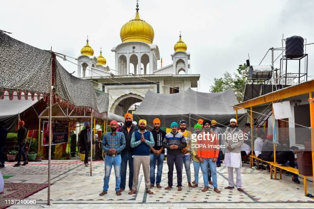Sikh devotees seen praying at the gurdwara or a Sikh temple during the festival Baisakhi marks the Sikh New Year and is also celebrated as harvest...