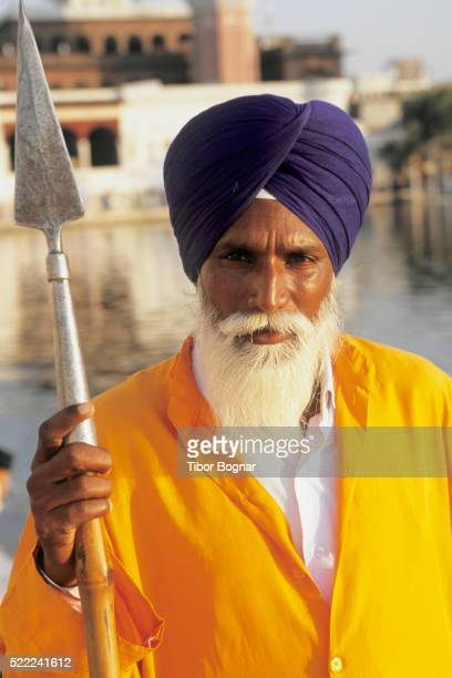 Sikh Guard at the Golden Temple in Amritsar
