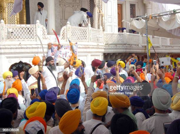 Sikh hardliners gathered around the Akal takht and raising pro-khalistan slogans on the anniversary of Operation Bluestar at Akal Takht Golden Temple...