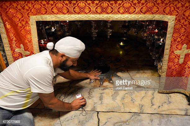 Sikh man at the birthplace of Jesus