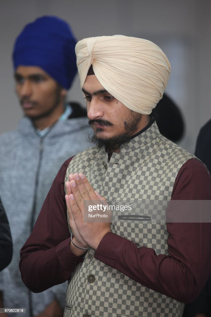 Sikh man offers prayers at Gurdwara during Gurpurab on November 04 2017 in Mississauga Ontario Canada Guru Nanak Gurpurab also known as Guru Nanak`s..