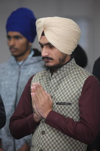 Sikh man offers prayers at Gurdwara during Gurpurab on November 04 2017 in Mississauga Ontario Canada Guru Nanak Gurpurab also known as Guru Nanak`s..
