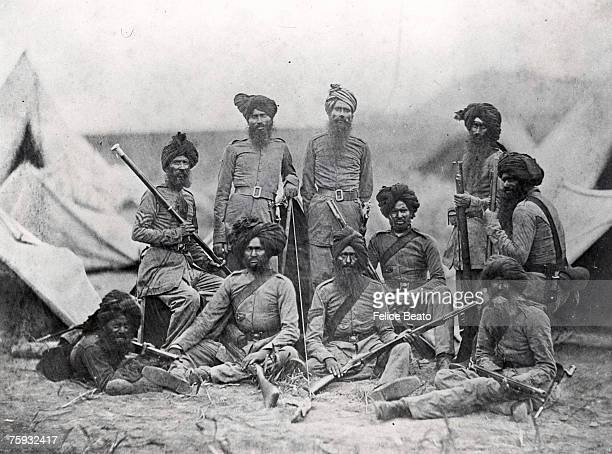 Sikh officers of the British 15th Punjab Infantry regiment shortly after the Indian Rebellion 1858