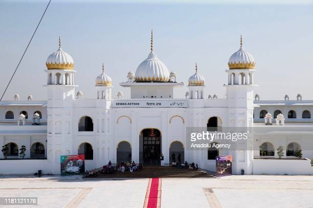Sikh pilgrims gather at the Kartarpur crossing which is opened at the 550th birth anniversary of Baba Guru Nanak founder of their religion Kartarpur...
