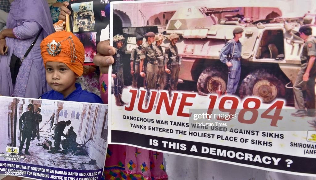 Sikh radical activists attending the 33rd anniversary of Operation Blue Star at Akal Takht Sahib Golden Temple on June 6 2017 in Amritsar India