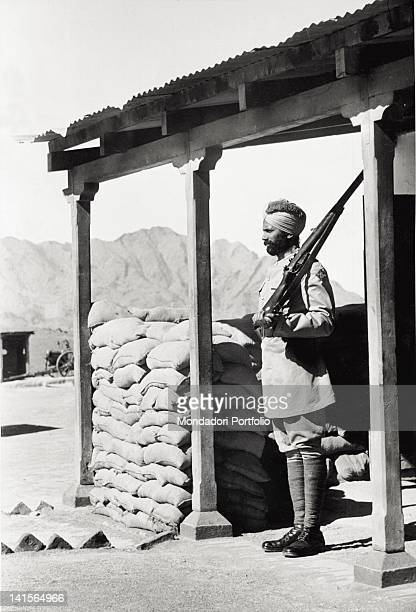 A Sikh sentry of the British Empire is on sentryduty on Khyber Pass linking India to Afghanistan India May 1949