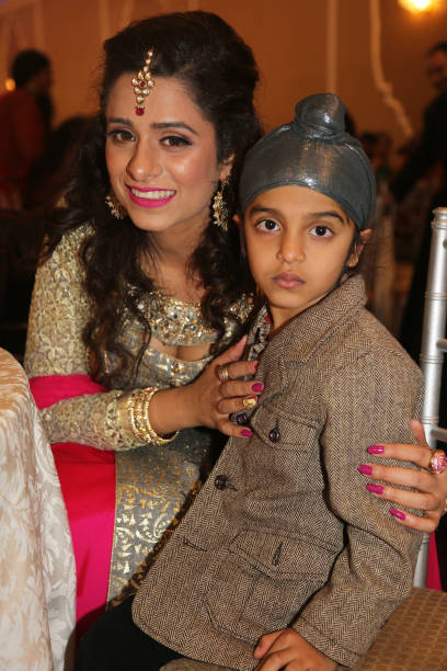 Sikh woman with her young son during the Diwali Gala Celebration held in Mississauga Ontario Canada on 25 November 2017 This luxurious gala event and.