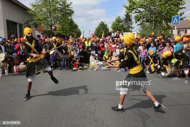 Sikhs celebrating Vaisakhi festival in Bobigny France Martial arts