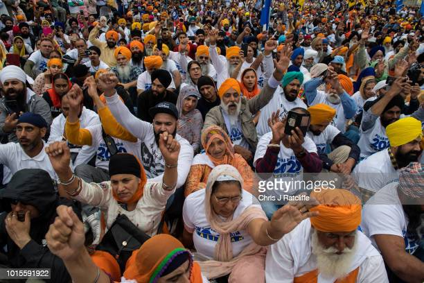 Sikh's chant during a rally for independence to the Indian state of Punjab at Trafalgar Square on August 12 2018 in London England The rally...