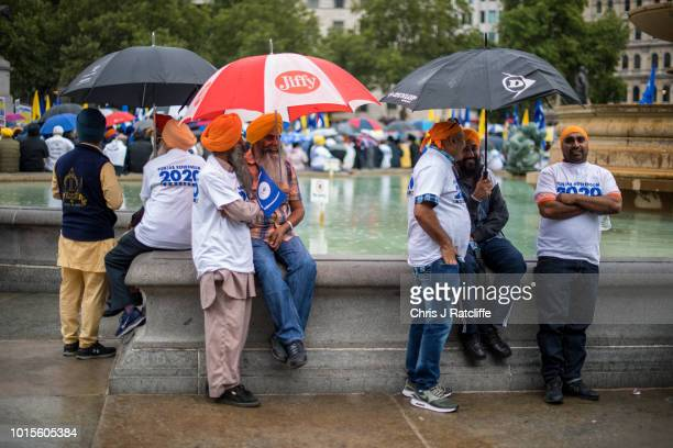 Sikh's during a rally for independence to the Indian state of Punjab at Trafalgar Square on August 12 2018 in London England The rally organised by...