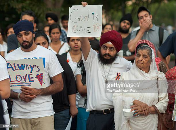 Sikhs gather in attendance of a vigil in Lafayette Square in honor of the victims of the Sikh Temple shooting in Oak Creek Wisconsin