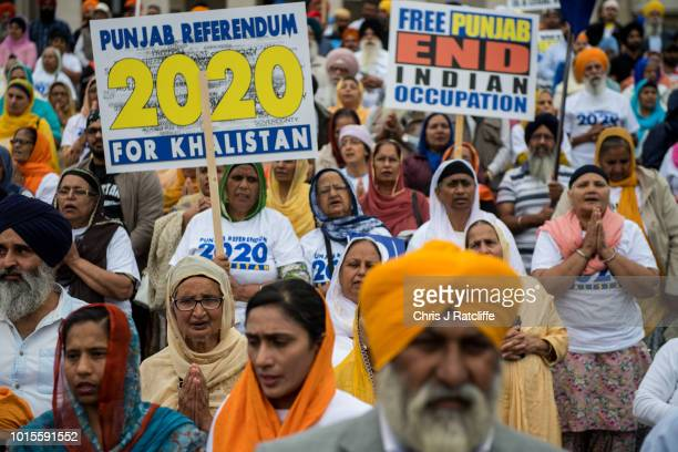 Sikh's pray during a rally for independence to the Indian state of Punjab at Trafalgar Square on August 12 2018 in London England The rally organised...