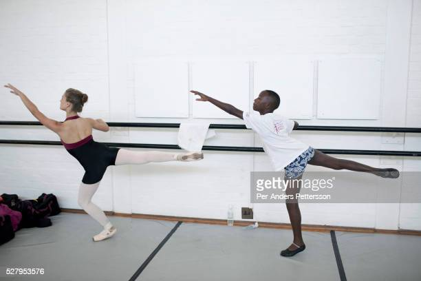 Sikhumbuzo Hlahleni age 15 trains with other students at Cape Town City Ballet's youth company on March 6 2010 in Cape Town South Africa He trains in...
