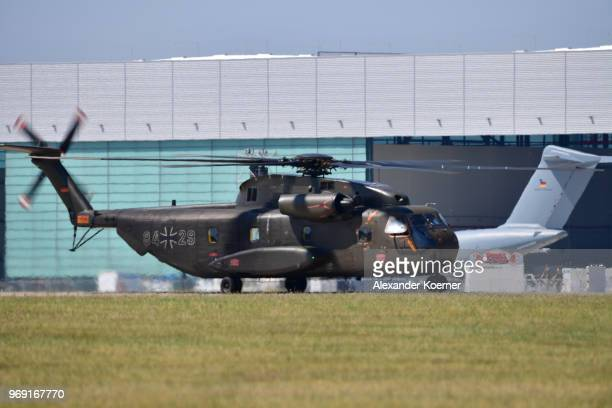 Sikorsky CH53 transport helicopter of the Bundeswehr the German armed forces arrives at Fliegerhorst Wunstorf to take part in an open house day of...