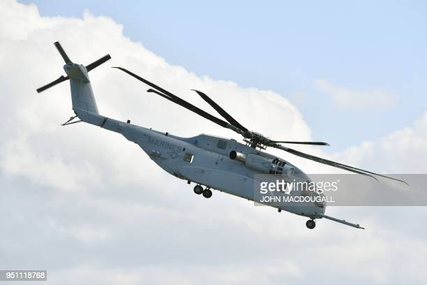 A Sikorsky CH53K King Stallion heavylift cargo helicopter is on show at the ILA Berlin International Aerospace Exhibition at Schoenefeld airport near...