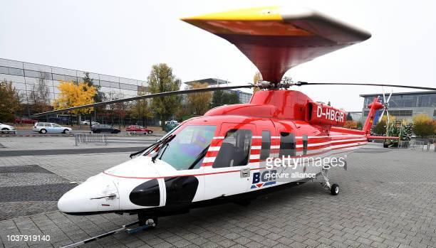 A Sikorsky S76B helicopter lands on the fairgrounds in Hanover Germany 29 October 2015 The oneofakind helicopter for the Federal Institute for...