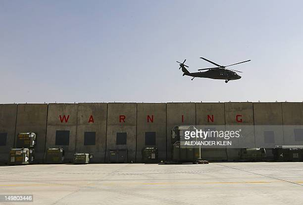 A Sikorsky UH60 Black Hawk helicopter takes off at the Kabul International airport in Kabul on August 2 2012 France is the fifth largest contributor...