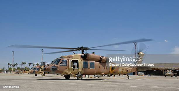 A Sikorsky UH-60 Black Hawk Yanshuf of the Israeli Air Force parked at Hatzerim Air Base, Israel.