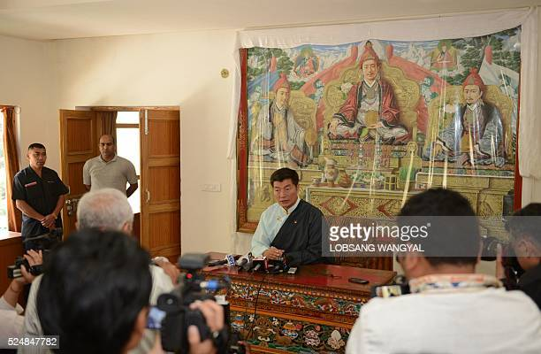 Sikyong of the Central Tibetan Administration Lobsang Sangay speaks during a press conference after the announcement of the Tibetan government...
