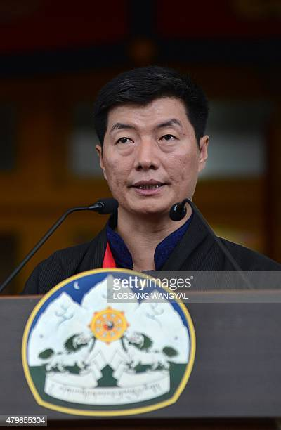 Sikyong the Prime Minister of the Tibetansinexile Lobsang Sangay speaks on the occasion of the Dalai Lama's 80th birthday at Tsuglakhang temple in...