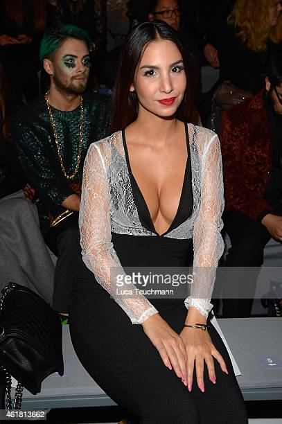 Sila Sahin attends the Lena Hoschek show during the MercedesBenz Fashion Week Berlin Autumn/Winter 2015/16 at Brandenburg Gate on January 20 2015 in...