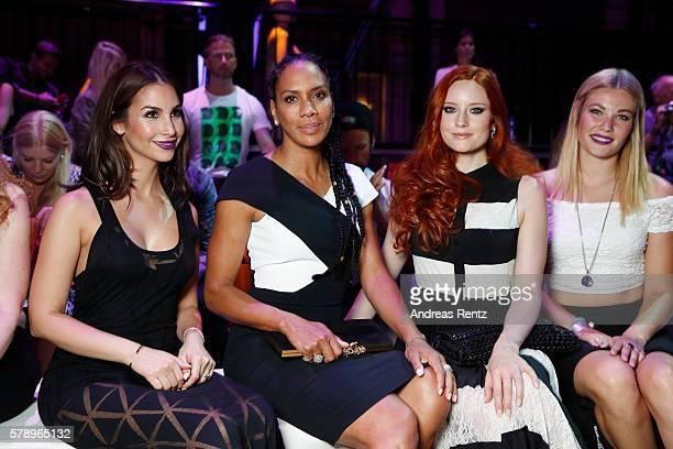 Sila Sahin, Barbara Becker, Barbara Meier and Amelie Klever attend the Breuninger show during Platform Fashion July 2016 at Areal Boehler on July 22,...