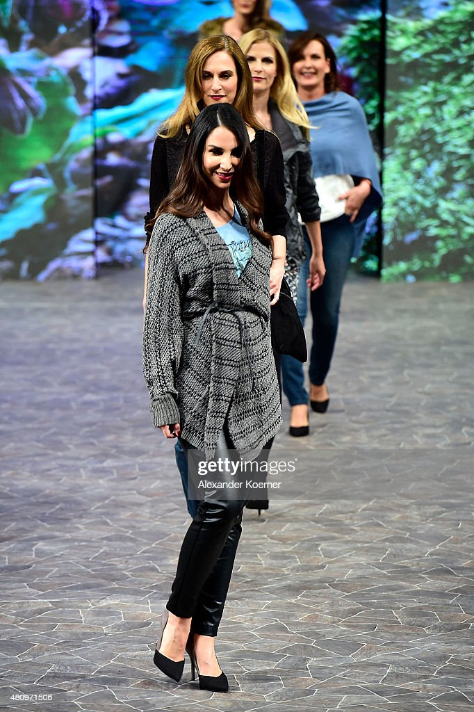 Sila Sahin walks the runway during the Ernsting's family Fashion Show Autumn/Winter 2015 at Hotel Atlantic on July 16, 2015 in Hamburg, Germany.