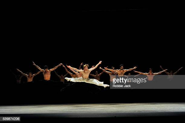 Silas Henriksen with artists of the company in Nederland Dans Theatre's production of Sol Leon and Paul Lightfoot's Sehnsucht at Sadler's Wells in...
