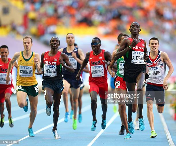 Silas Kiplagat of Kenya and Asbel Kiprop of Kenya compete in the Men's 1500 metres semi finals during Day Seven of the 14th IAAF World Athletics...