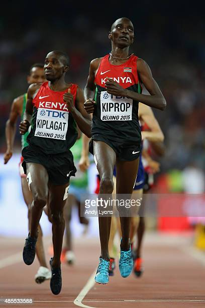 Silas Kiplagat of Kenya and Asbel Kiprop of Kenya cross the finish line in the Men's 1500 metres semi-final during day seven of the 15th IAAF World...