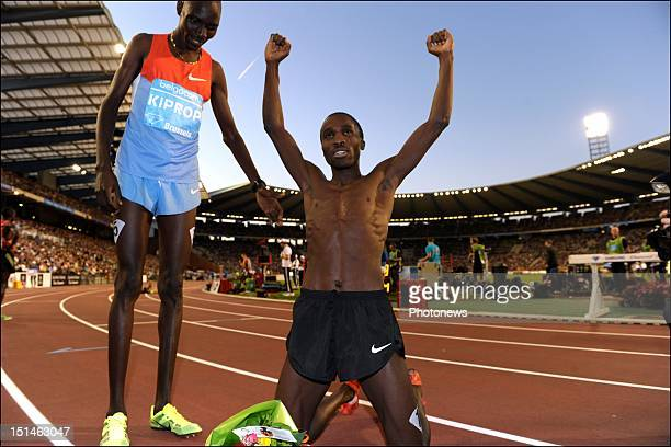 Silas Kiplagat of Kenya celebrates after winning the men's 1500M race on the 14th and last leg of the Samsung Diamond athletics league during the...