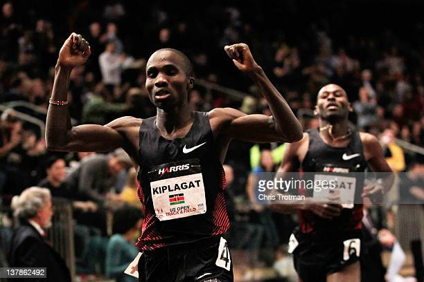 Silas Kiplagat of Kenya celebrates defeating Bernard Lagat in the Men's 1 Mile Run at the US Open Track and Field event at Madison Square Garden on...