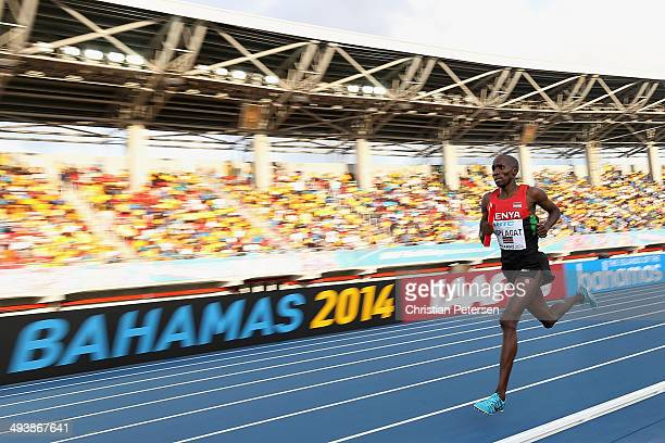 Silas Kiplagat of Kenya competes in the Men's 4x1500 metres relay final during day two of the IAAF World Relays at the Thomas Robinson Stadium on May...
