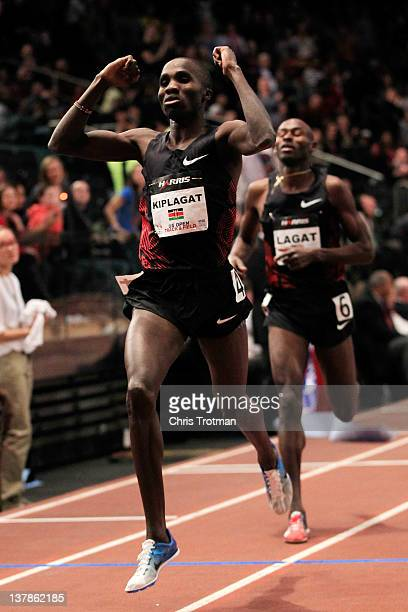 Silas Kiplagat of Kenya defeated Bernard Lagat in the Men's 1 Mile Run at the US Open Track and Field event at Madison Square Garden on January 28,...