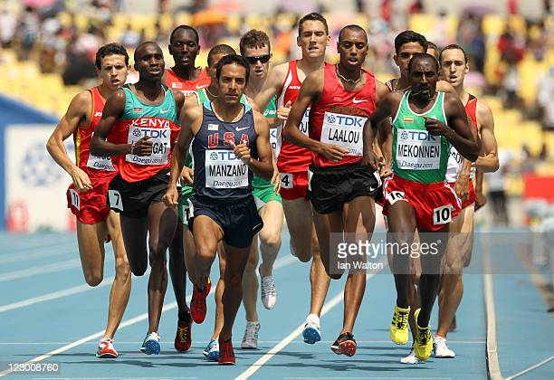 Silas Kiplagat of Kenya, Leonel Manzano of United States, Amine Laalou of Morocco and Deresse Mekonnen of Ethiopia compete in the men's 1500 metres...