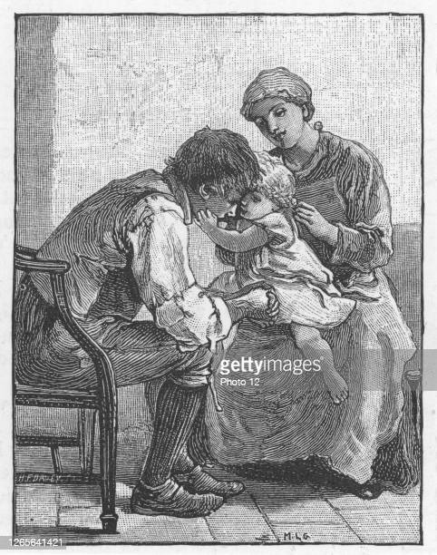 Silas Marner by George Eliot 1861 Eppie the orphan showing Silas Marner the weaver how much she likes him Illustration by Mary LGow published 1882
