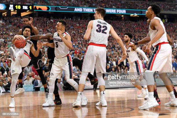 Silas Melson of the Gonzaga Bulldogs gets a rebound in the final seconds during the 2017 NCAA Photos via Getty Images Men's Final Four Semifinal...