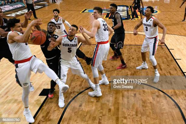 Silas Melson of the Gonzaga Bulldogs gets the offensive rebound during the 2017 NCAA Photos via Getty Images Men's Final Four Semifinal against the...