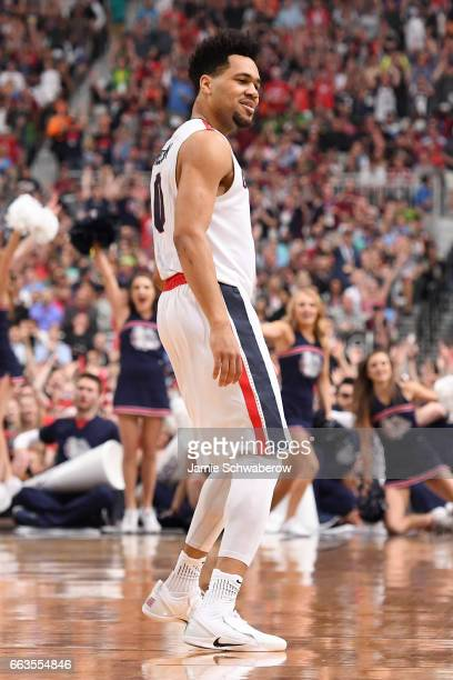 Silas Melson of the Gonzaga Bulldogs reacts after a play during the 2017 NCAA Photos via Getty Images Men's Final Four Semifinal against the South...