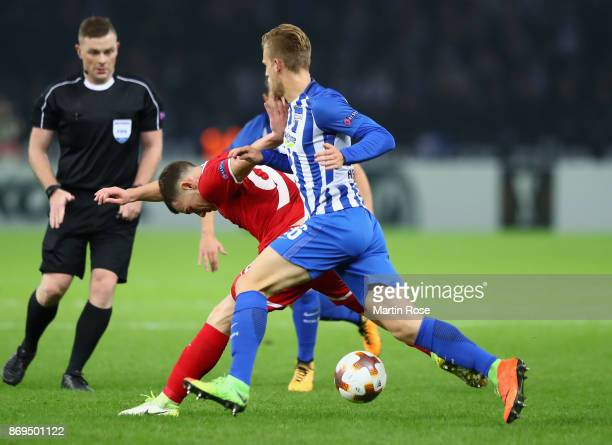 Silas of Zorya Luhansk and Arne Maier of Hertha BSC Berlin in action during the UEFA Europa League group J match between Hertha BSC and Zorya Lugansk...