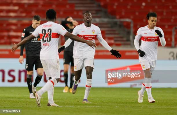 Silas Wamangituka of VfB Stuttgart celebrates after scoring their side's second goal from the penalty spot during the Bundesliga match between VfB...