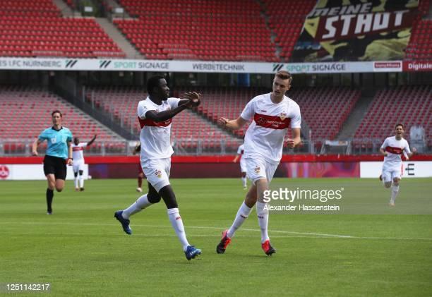Silas Wamangituka of VfB Stuttgart celebrates with Sasa Kalajdzic of VfB Stuttgart after scoring the first goal during the Second Bundesliga match...