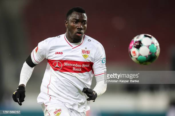 Silas Wamangituka of VfB Stuttgart in action during the Bundesliga match between VfB Stuttgart and 1. FC Union Berlin at Mercedes-Benz Arena on...