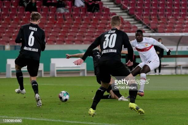 Silas Wamangituka of VfB Stuttgart scores his team's first goal during the DFB Cup Round of Sixteen match between VfB Stuttgart and Borussia...