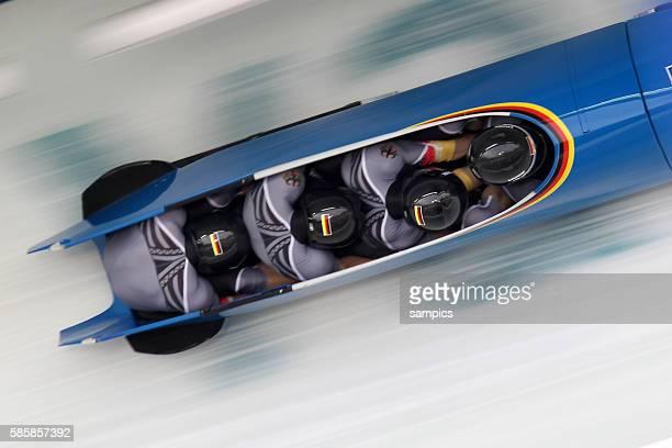 Silber fur GER 1 Andre Lange , Alexander Roediger , Kevin Kuske , Martin Putze Viererbob Four Men Bob Olympische Winterspiele in Vancouver 2010...