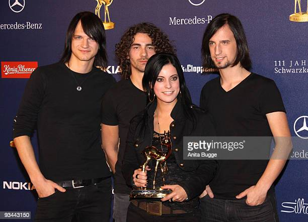 Silbermond poses with the Bambi for 'Pop National' at the Bambi Awards 2009 at the Metropolis hall at Filmpark Babelsberg on November 26 2009 in...