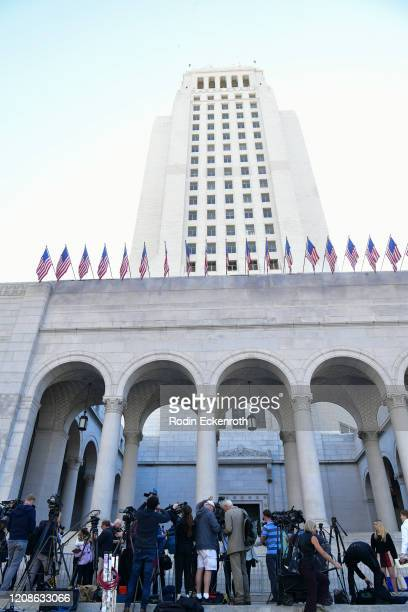 Silence Breakers Hold Press Conference In Los Angeles Following Guilty Verdict In Harvey Weinstein Trial at Los Angeles City Hall on February 25,...