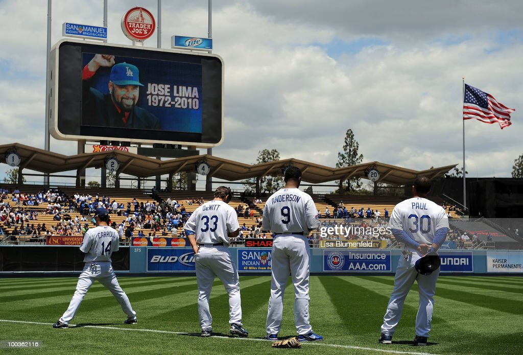 Silence is observed in memory of former Dodger Jose Lima before the Detroit Tigers take on the Los Angeles Dodgers at Dodger Stadium on May 23, 2010 in Los Angeles, California.