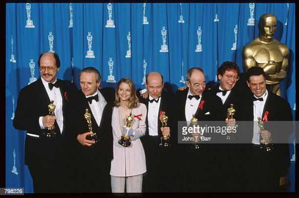 'Silence of the Lambs' cast and production winners hold their Oscars at the 64th annual Academy Awards March 30 1992 in Los Angeles CA The Academy of...